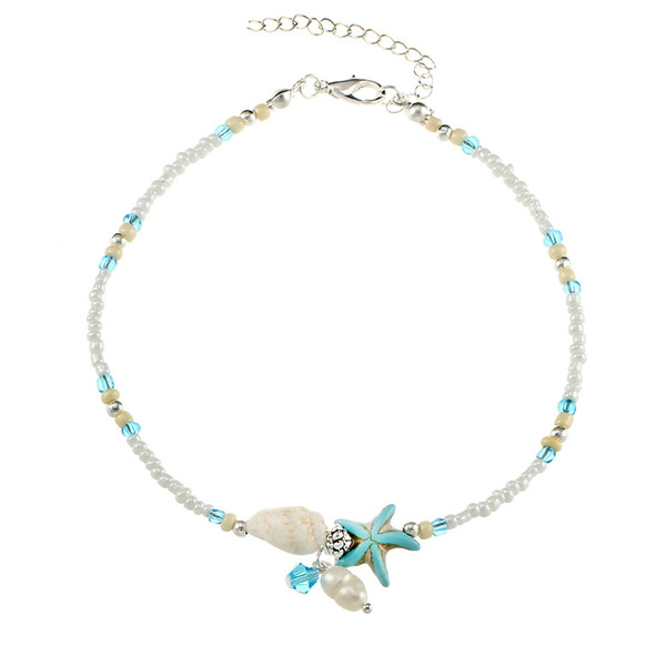 Conch Starfish Pearl Bead Chain Tobilleras Pulseras Beach Foot Chain Joyería de moda para mujeres Drop Ship 320075