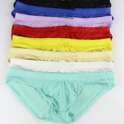 Sous-vêtement pour homme U sac convexe mince glace transparente écran de glace slips short en dentelle sexy sous-vêtements en soie mâle