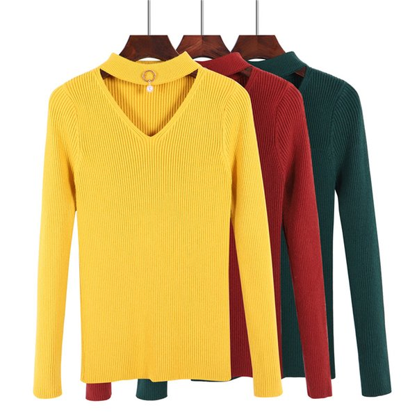 Hot selling New Winter Women Sweaters Fashion V-neck Long Sleeve Pullovers Solid Color Knitted Sweaters Female Jumper Tops D213