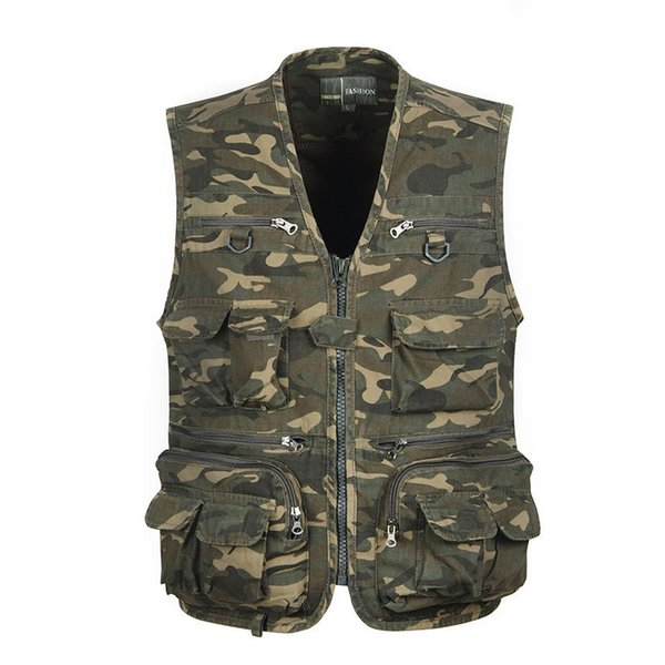 2018 multi pocket camouflage vest men casual travel waistcoat cotton fish sleeveless jacket camo caza vest straight clothes thumbnail