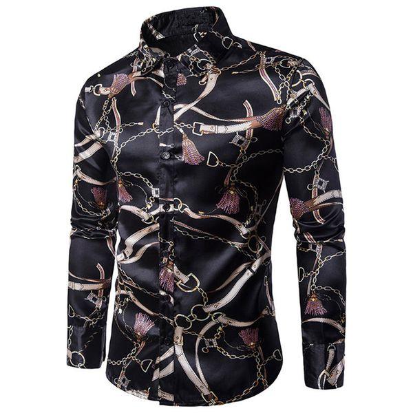 Novelty Iron Chain Printed Man Shirt Man Sexy Club Casual Blusa Long Sleeve Tops Hot Sale 2018 New Male Fashion Clothes Slim 2XL