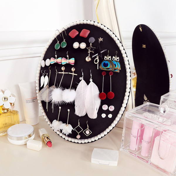 Small Round Jewelry earring Display Stand Flocked Fabric Board Earrings Stud Showcase Organizer Necklaces Bracelet Holder