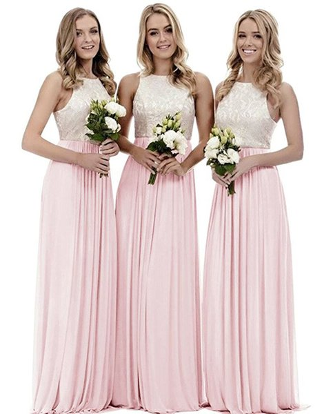 2018 Elegant Formal Halter lace top Bridesmaid Dresses Custom Made A Line Chiffon Long Pink Womens' Party Gown For Wedding
