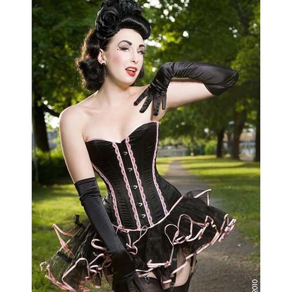 New Sexy Satin Lingerie Lace up Corset Bustier Mini Tutu Petticoat Skirt Fancy Dress Costume 3 Pieces Dress S-XL W312178