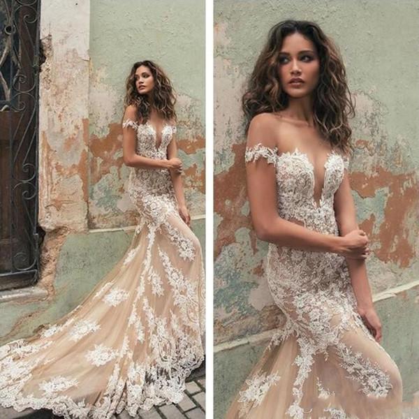 Gorgeous 2019 Sheer Neck Berta Bridal Gowns Cap Sleeves Lace Applique Mermaid Wedding Dresses Tulle Plus Size Bridal Dress