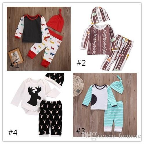 Kid Clothing Baby Christmas Pajamas Toddler Outfit Children Boutique Clothes 3PCS Reindeer Girl Boy Shirt Romper Legging Warm Pants Hat