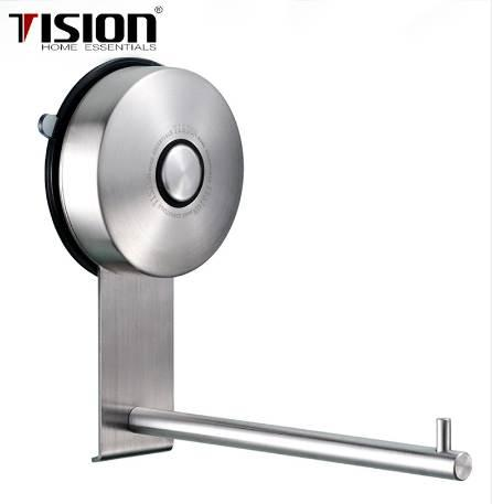 Long Roll Paper Suction Cup Rack Wall Mounted Stainless Steel Towel Holder