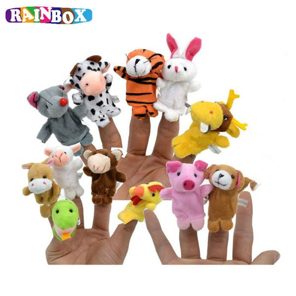 top popular 12PCS Cute Cartoon Animal Finger Puppet Plush Toys Child Baby Favor Dolls Boys Girls Finger Puppets zl348 2021