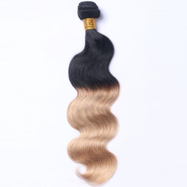 Großhandel preis zwei ton farbe körperwelle brasilianische menschenhaarverlängerung remy haareinschlagfaden kann gefärbt werden