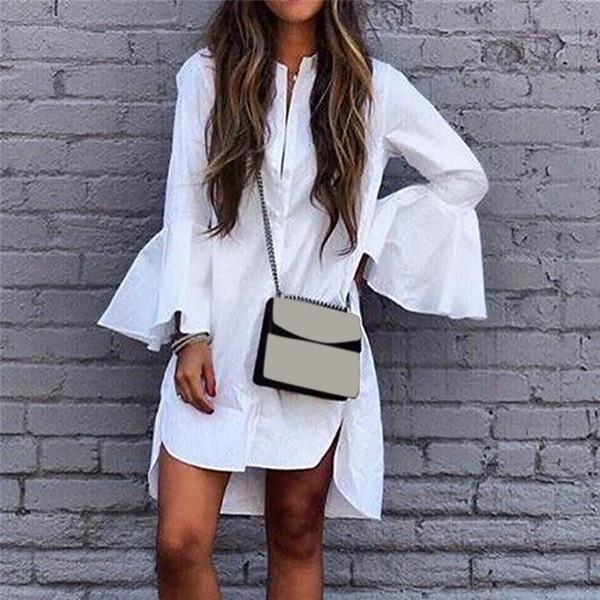 Hauts et chemisiers pour femmes Longues manches évasées blanches Longue chemise