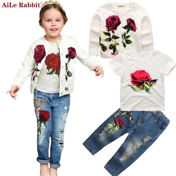 Autumn Newest Girls Clothes Suit Jacket T shirt Jeans 3 Pcs Set Fashion Rose Cardigan Tops Sequin Kids Coat