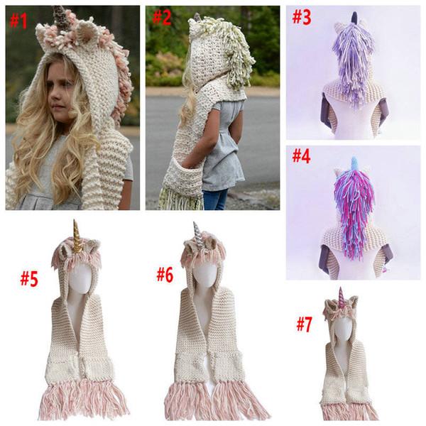 Compre 7 Niñas De Color Unicornio Bufanda De Invierno Sombrero ...