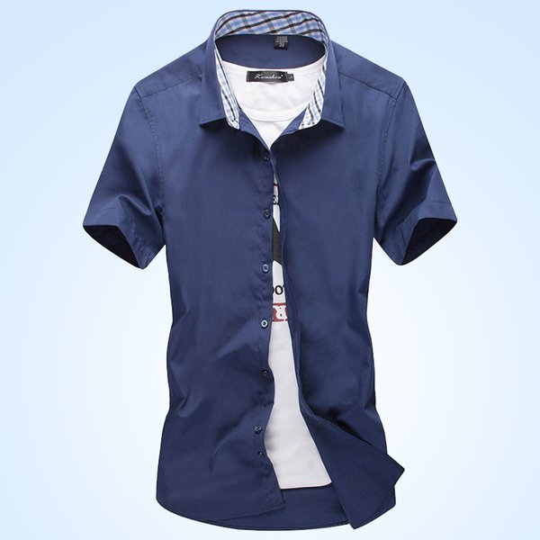 The 2018 summer new men's dress shirts are stylish and slim and casual short sleeve shirts will be worn as business dress