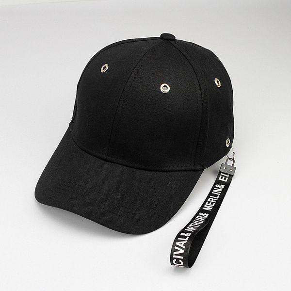 2018 sólido preto algodão Casquette Baseball Cap ajustável Snapback chapéus para homens e mulheres 86