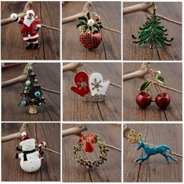 Alloy Christmas Brooch Pin Buckle For Santa Claus Xmas Tree Snowman Wreath Brooches For Women Clothing Charm Jewelry Accessories HH7-1862