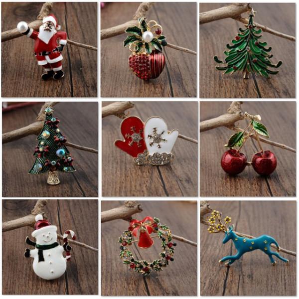 Liga de Natal Broche Pin Fivela Para O Papai Noel Xmas Tree Snowman Wreath Broches Para As Mulheres Roupas Charme Jóias Acessórios HH7-1862