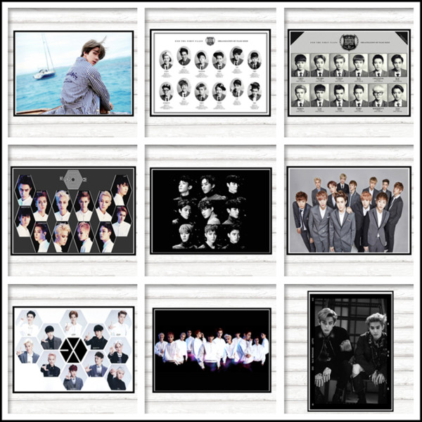 EXO LOTTO Posters K-Pop Dance-Pop Wall Stickers White Coated Paper Decorative Paintings
