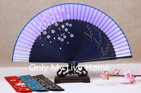 Ink painting cherry Japanese Fan Chinese Traditional Craft Bamboo Folding Fan Handheld Portable Wedding Fans Personalized