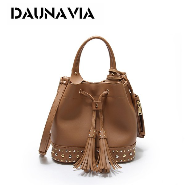 bucket bag Fashion Rivet Bucket Set Women Handbags PU Tassels Ladies Shoulder Bags For Female Ladies Crossbody Bags