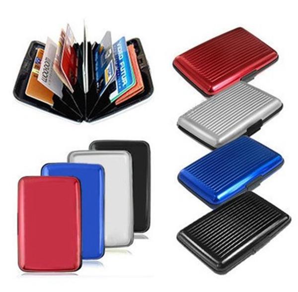 Glänzende mehrfarbige Tasche wasserdichte Brieftasche Business ID Kreditkarten Geldbörse Geldhalter Aluminiumlegierung (außen) + Kunststoff (innen) kostenloser Versand