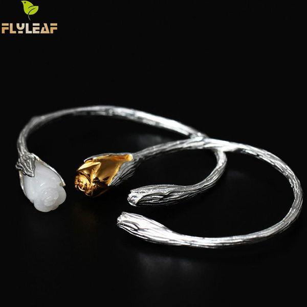 whole saleFlyleaf Magnolia Flower Open Bracelets & Bangles For Women Vintage Style Elegant Lady 925 Sterling-silver-jewelry