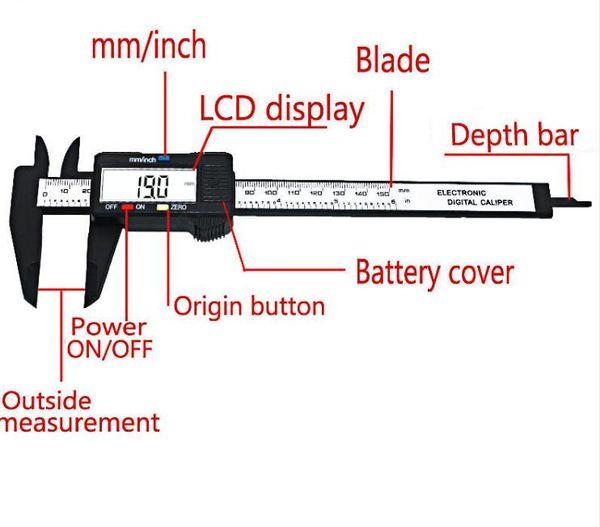 top popular New Arrival 150mm 6 inch LCD Digital Electronic Carbon Fiber Vernier Caliper Gauge Micrometer Measuring Tool Free Shipping 2020