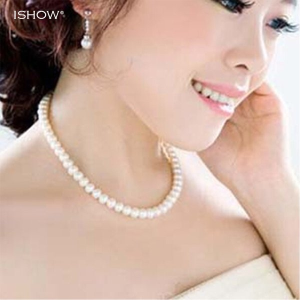whole saleWomens jewellery colliers big chain simulated pearl necklace bridal jewelry necklace female white wedding gifts pearl