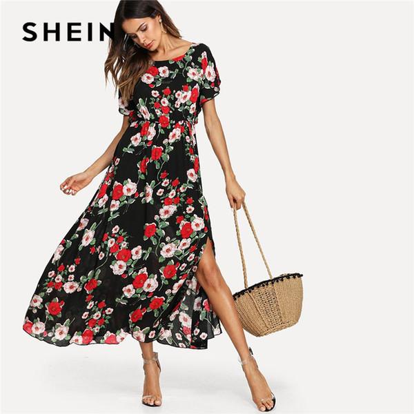 e9541d9f0f SHEIN Flower Print Elastic Waist Maxi Dress Women Round Neck Short Sleeve  High Waist Button Split
