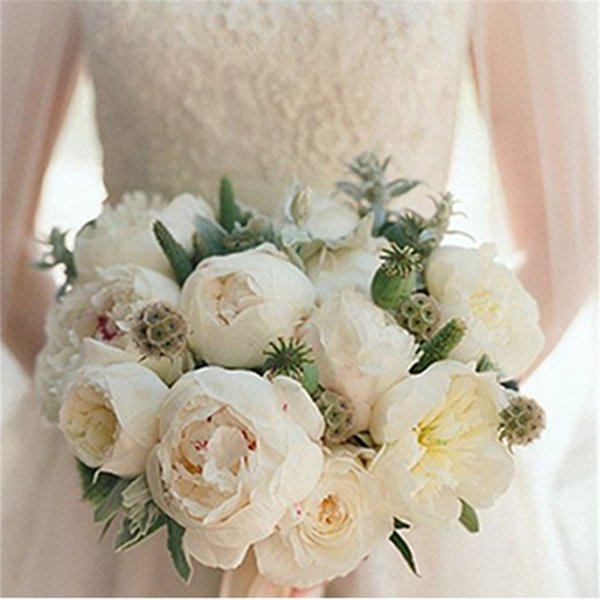 Elegant 5 Heads Artificial Peony Fake Flower Bunch Bouquet Home Hotel Wedding Party Floral Home Hotel Decor Peony