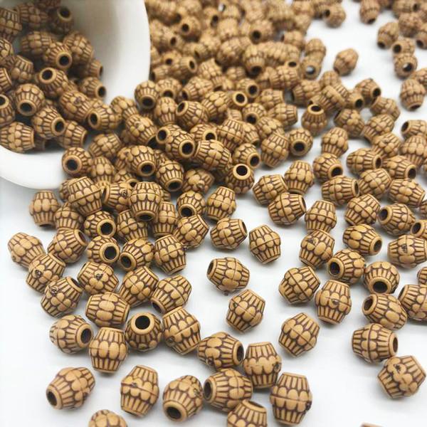 7 * 8mm 100 teile / los Günstige Heiße Acryl Perlen Nachahmung Holz Perlen Runde Form Passend Für Handgemachte DIY Halskette Armband Schmuck machen