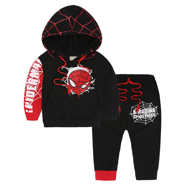 2018 New spring and autumn explosion models spider set children cartoon long sleeve hooded sets Baby & Kids Clothing set online free