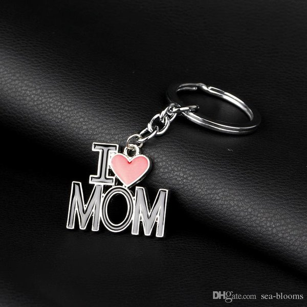 4 Styles I Love DAD MOM MAMA PAPA Keychain Letters Red Heart Love Keyring Car Key Chains Rings Jewelry for Mother Father Gifts D275LR