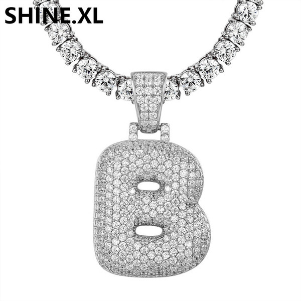 A-Z Custom Name Bubble Letters Necklaces & Pendant Charm For Gold Silver Color Cubic Zirconia Hip Hop Jewelry Drop Shipping
