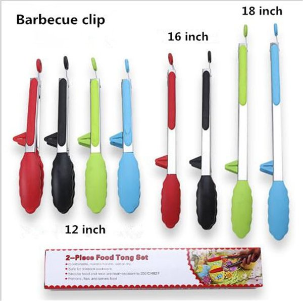 Outdoor dinner and family barbecue kitchen utensils 12inch 16inch 18inch silicone food clips Four color optional