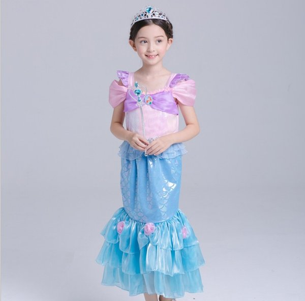 Cute cartoon Mermaid princess dress girl's boutiques top quality dress children's Christmas halloween costume ball gown for party