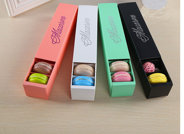 best selling LOW PRICE!!! 200pcs lot home made macaron black white pink green macaron box biscuit Muffin box Free Shipping GBN-041