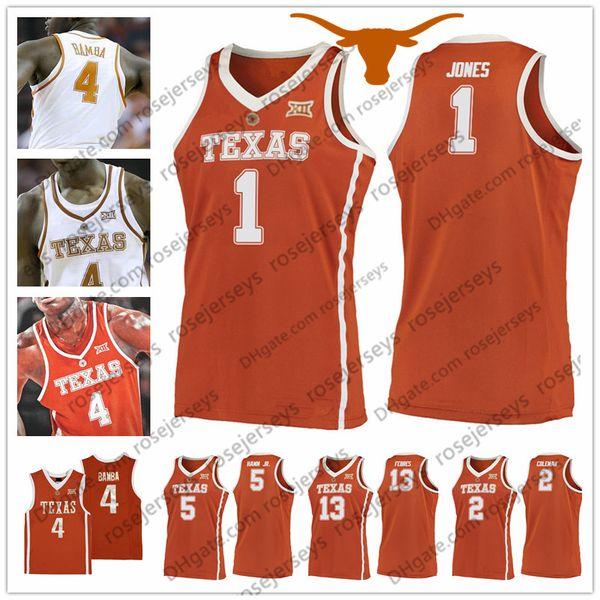 NCAA Texas Longhorns #1 Andrew Jones 2 Matt Coleman 5 Royce Hamm Jr. 13 Jase Febres Retro orange white College Basketball Jersey Vintage