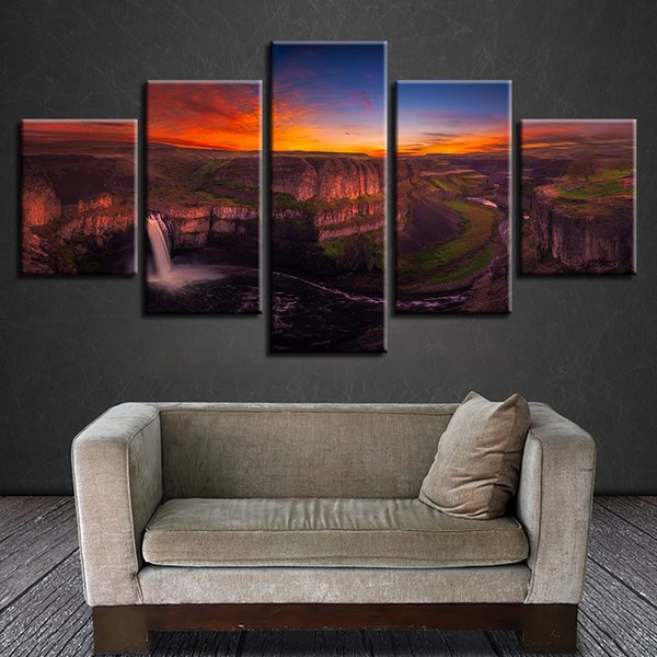 Canvas HD Print Picture 5 Panel Sunset Waterfall Natural Landscape Painting Wall Art Poster Home Living Room Decor Modular Frame