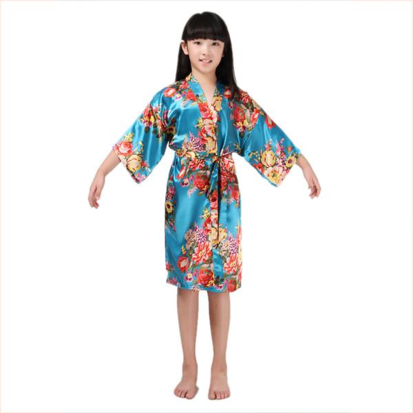 2018 New arrival bathrobes for girls robes stain silk Kimono bath robes kids children nightgown floral sleepwear B24