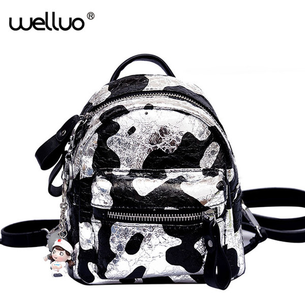 Multifuction Mini Backpacks Glitter Silver Shoulder Bags Women Small Rucksack For Female Cute Girls Panelled Backpack Bag XA26B