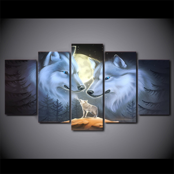 Wall Art Room Home Decor Frame Canvas HD Prints Poster 5 Pieces Full Moon Night Animal Wolves Painting Landscape Pictures