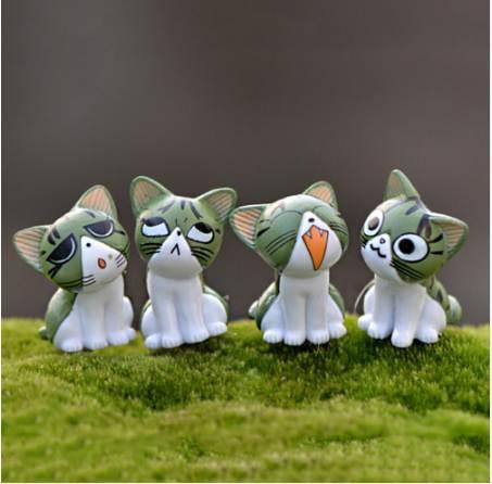 8Pcs/Set Kawaii Zakka Cute Unhappy Cat Doll Diy Mini Cartoon Figure Fairy Garden Miniature Home Decoration Accessories