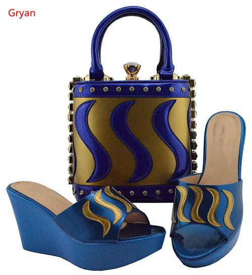 Gryan vente chaude livraison gratuite Italien Chaussures et Sacs À Assortir Ensemble De Bonne Qualité Nigérians Femmes Chaussures De Mariage et Sac H4-19
