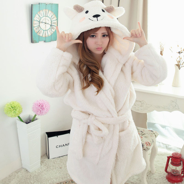 Pajamas women 2018 autumn and winter new thickening couple home service cartoon animal conjoined robe bathrobe men and women