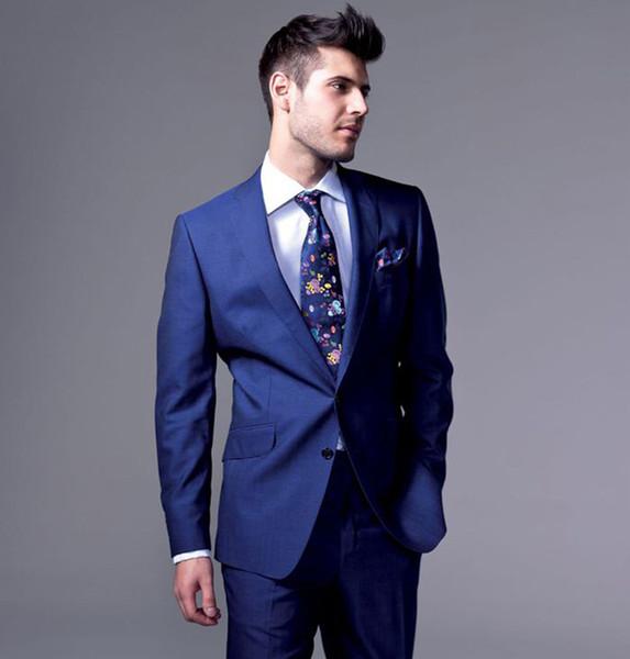 Men Suits Royle Blue Notched Lapel Wedding Suits Blazer Fashion Custom Made Slim Fit Formal Tuxedos Best Man Prom Evening Dress Party 2Piece