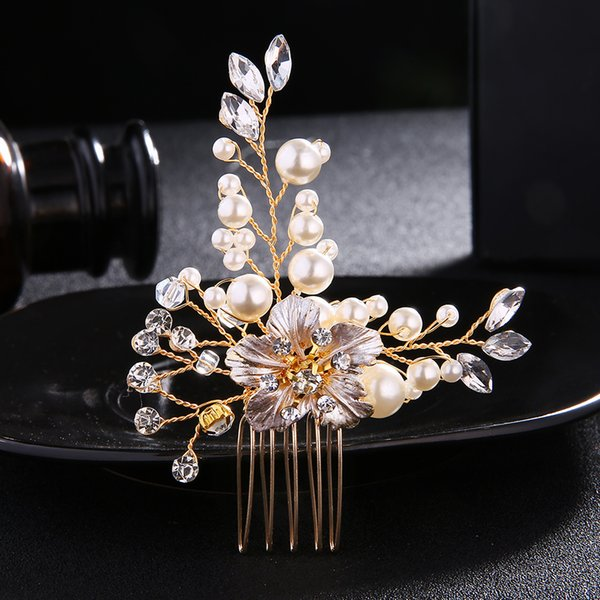 Ivory White Pearl Hair Comb Fashion Rhinestone Crystal Wedding Bride Jewelry Hair Accessories Hair Clips Women Hairpieces JCH030