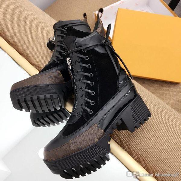 Роскошные дизайнерские сапоги женщины пустыни загрузки коренастый каблук Мартин обувь печати кожаная платформа пустыни шнуровке загрузки 5 см 9 цветов с коробкой