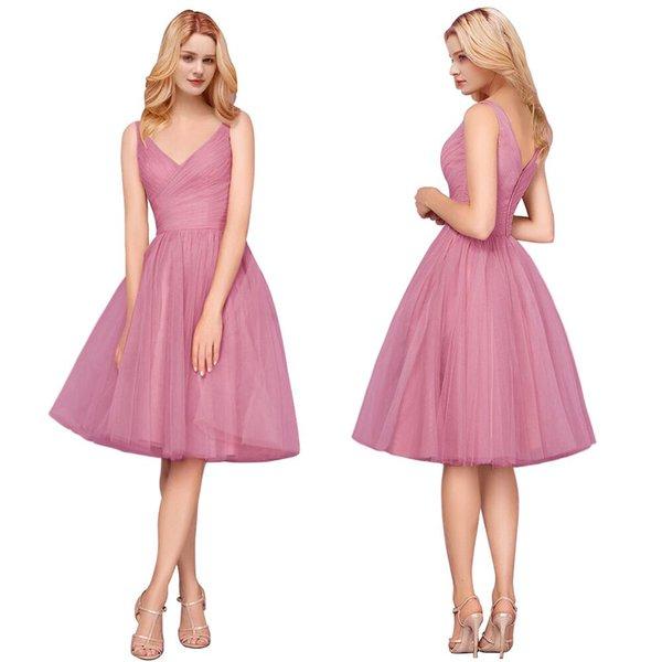 Compre Vestidos De Damas De Honor De Tul Rosa Polvorientos Modernos 2019 Diseñados A Line V Cuello Sin Espalda Longitud De La Rodilla Cóctel Prom