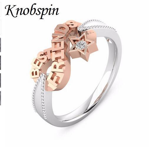 Best Friends Jewelry Rose Gold Color Infinity Symbol Women Rings Fashion Unique Star Zircon Rings Gifts Wholesale Size 5-12 anel