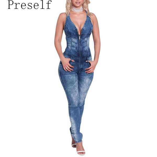 Preself 2017 New Women Sexy V Neck Sleeveless Backless Slim Denim Jumpsuit Pants Summer